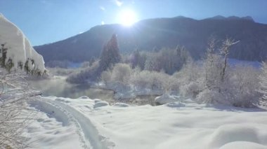 Beautiful nature landscape in winter — Vídeo stock