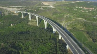AERIAL: Flying high above huge viaduct highway — Stock Video