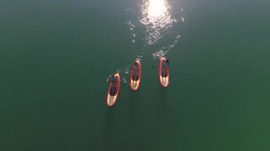 AERIAL: Flying directly above people SUP boarding on Bled lake — Stock Video