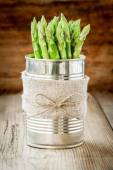 Bundle of of ripe organic asparagus — Stock Photo