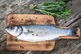 Two raw seabass with  rosemary — Stock Photo