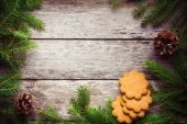 Gingerbread Cookie  on Christmas background — Stock Photo