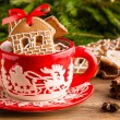Christmas ginger cookies in a red mug — Stock Photo #60205547