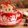 Christmas ginger cookies in a red mug — Stock Photo #60205611