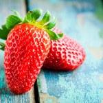 Couple fresh ripe organic strawberries closeup — Stock Photo #71768017