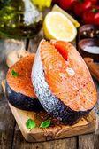 Two fresh raw salmon steaks closeup — Stockfoto