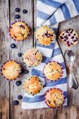 Homemade muffins with blueberries top view — Stock Photo