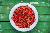Ripe fresh organic red currants in a bowl on a green background — Stock Photo
