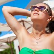 Vacation woman relaxing on summer holidays resort. — Stock Photo #53036603