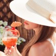 Summer vacation woman smile drink tropical cocktail — Stock Photo #54500415