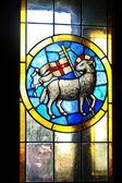 Vetrata nella cattedrale di firenze con l'emblema dell'arte della lana, italia — Foto Stock