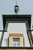 Pediment of a building typical of Prague, Czech Republic — Stock Photo
