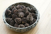 The cones ornament in woven bowl — Stock Photo