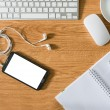 Office table with notepad, computer, coffee cup, computer mouse — Stock Photo #54085361