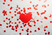 Many red and white heart on white  background — Stockfoto