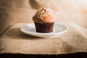 Chocolate muffin on sackcloth textures — Stock Photo