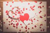 Many red and white heart on white  background — Stock Photo