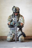 American soldier resting from military operation — Stock Photo