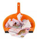 Ukrainian money in scoop — Stock Photo