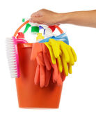 Hand with cleaning items — 图库照片