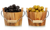 Olives in buckets — Stock Photo