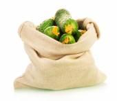 Cucumbers in sack — Stock Photo