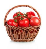 Tomatoes in basket — Стоковое фото
