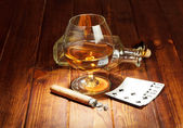 Cards, cigar and  whisky — Stock Photo