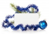 Fir-tree branch with tinsel — Foto Stock