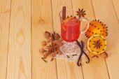 Mulled wine and orange — Stock Photo