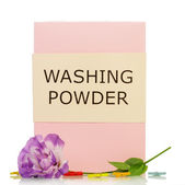 Washing powder with flowers — Stock Photo