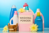 Washing powder and cleaning items — Stock Photo
