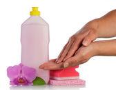 Hands,Sponge, bottles — Foto de Stock