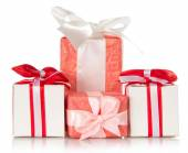 Present gift boxes with ribbons — Stock Photo