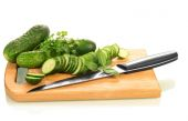 Green ripe Cucumber slices — Stock Photo
