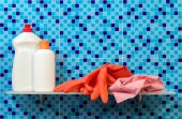 Hygiene cleanser on bathroom shelf — Stock Photo