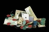 Poker chips and dollar bills — Stock Photo