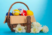 Basket with decorated  eggs — Stock Photo