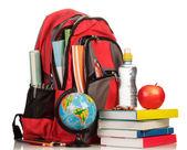 Ryggsäck med skolmaterial — Stockfoto