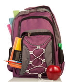 Backpack with school supplies — Stock Photo