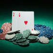 Poker chips and ace cards — Stock Photo #67241687