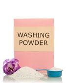 Washing powder with flower — Stock Photo