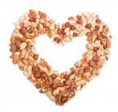 Nuts in the shape of heart — Stock Photo