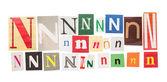 N inscription letters set — Stock Photo