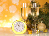 Champagne and clock — Stock Photo