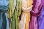 Silk and cotton scarves — Stock Photo
