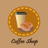 Brown coffee and donuts — 图库矢量图片