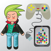 Beautiful vector illustration of a guy and games — Stock Vector