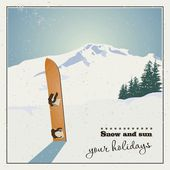 Mountains and old snowboard in snow — Stock Vector