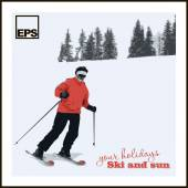 Skier slides from mountain — Stock Vector